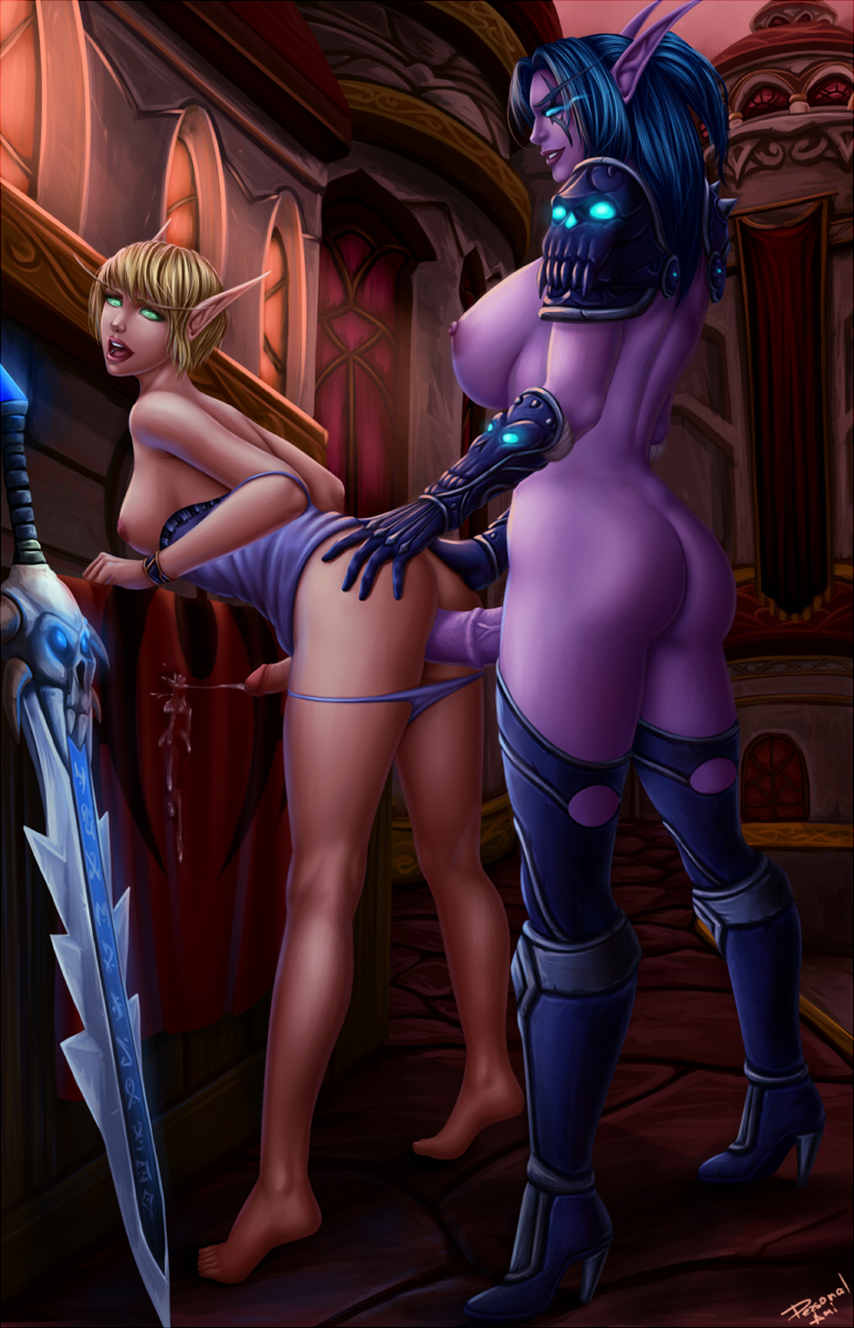 Naked night elf sucking penis hentay scene